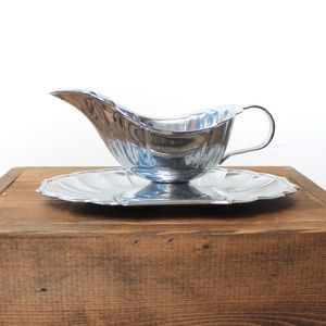 Silver Gravy Boat With Plate